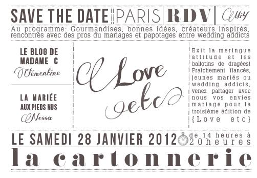 Allez-y ! La «Love Etc»  Samedi 28 Janvier à Paris